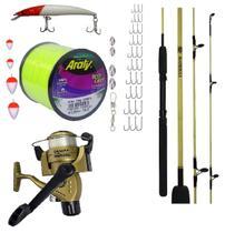 Kit Pesca Completo 9 Kg Vara 20 Lbs + Mol 4000 3 Rl 44 Itens - Montagem própria