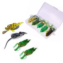 Kit Pescaria 9 Iscas Anti Enrosco Sapinho Frog + Ratos+Estoj - Fisgar