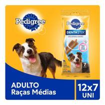 Kit Petisco Pedigree Dentastix Cuidado Oral Para Cães Adultos Raças Médias 12x7 uni -