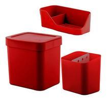 Kit Pia Lixeira Para Cozinha 2,5L Organizador De Pia Porta Detergente Esponja Sabão Porta Talheres - Ou