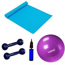 Kit Pilates Bola 55 Cm + Mini Bomba + Colchonete + 2 Halteres 1kg  Liveup -