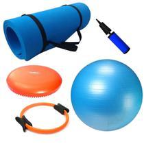 Kit Pilates Bola Suica 65cm + Colchonete + Anel Flexivel + Disco de Equilibrio  Mandiali -