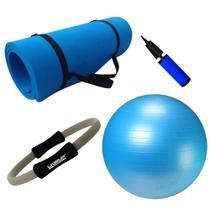 Kit Pilates Bola Suica 65cm + Colchonete Azul + Anel Flexivel + Bomba  Mandiali -