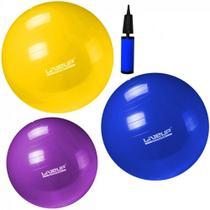 Kit Pilates com 3 Bolas Suicas Nos Tamanhos 55 Cm + 65 Cm + 75 Cm Liveup -