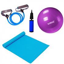 Kit Pilates com Bola 55 Cm + Bomba + Colchonete + Extensor Forte  Liveup -