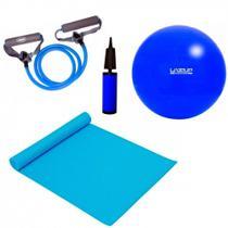 Kit Pilates com Bola 65 Cm + Bomba + Colchonete + Extensor Forte  Liveup -