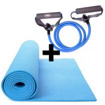 Kit Pilates com Colchonete em Eva + Extensor Elastico Azul Tensao Forte Liveup -