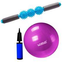 Kit pilates yoga bola suiça 55 cm premium + bastão de massagem - liveup - Kit Dmxfit