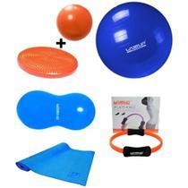 Kit pilates yoga bola suiça 65cm + anel de pilates + disco de equilíbrio + bola feijão 90x45 - Kit Dmxfit