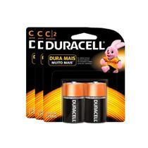 Kit Pilhas Alcalina Média C com 6 Unidades Duracell -