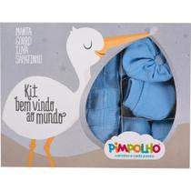 Kit Pimpolho manta, sapato,luva, touca em tricot  azul -