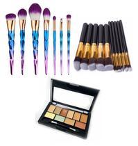 Kit Pincéis 17 Peças Maquiagem Profissional Paleta Base 10 Cores - Shoopweb