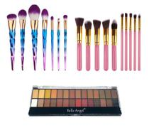Kit Pinceis Kabuki Maquiagem paleta 28 Core Sombra - Shoopweb
