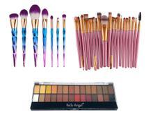 Kit Pinceis Maquiagem Paleta 28 Cores Belle Angel Profissional - Shoopweb