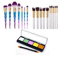 Kit Pinceis Maquiagem Paleta 5 Cores Ilumi Profissional - Shoopweb