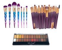 Kit Pinceis Maquiagem Paleta Sombra 28 Cores - Shoopweb
