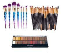 Kit Pinceis Maquiagem Profissional Paleta 28 Cores Belle Angel - Shoopweb