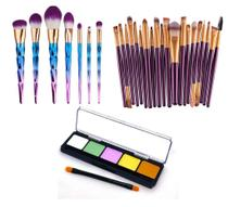 Kit Pinceis Maquiagem Profissional Paleta Ilumi Belle Angel 5 Cores - Shoopweb
