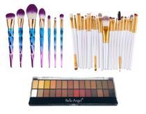 Kit Pinceis Profissional Maquiagem Paleta Belle Angel 28 Cores - Shoopweb