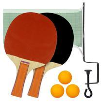 Kit Ping Pong Tênis De Mesa 2 Raquetes 3 Bolas c/ Rede - Mbtech