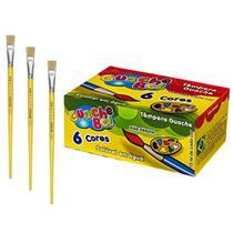Kit Pintura Infantil 6 Tintas Guache Bel + 3 Pinceis Chato Kaz -