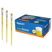 Kit Pintura Infantil 6 Tintas Guache Mercur + 3 Pinceis Chato Kaz -