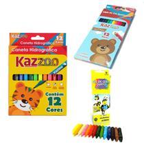 Kit Pintura Infantil Escolar Com 12 Lapis De Cor Kaz + 12 Canetinha Hidrograficas Kaz + Giz De Cera 15 Cores Acrilex -