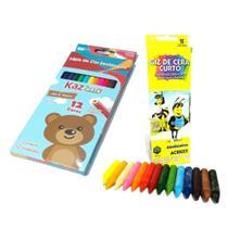Kit Pintura Infantil Escolar Com 12 Lapis De Cor Kaz + Giz De Cera Com 15 Cores Acrilex -