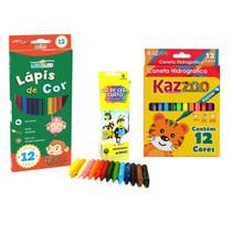 Kit Pintura Infantil Escolar Com 12 Lapis De Cor Leo & Leo + 12 Canetinhas Hidrografica Kaz + Giz De Cera 15 Cores -
