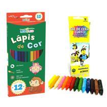 Kit Pintura Infantil Escolar Com 12 Lapis De Cor Leo & Leo +  Giz De Cera Com 15 Cores Acrilex -