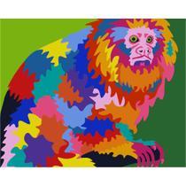 Kit Pintura Numerada Artelementar - Mico Leão Pop Art -