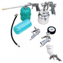 Kit Pintura Pistola Para Compressor 5 Pçs 5730255 Stels C/ Pintura Gravidade 600ml -