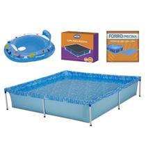 Kit Piscina 1500 Litros + Capa e Forro Mor + Boia Bote Fralda Azul -