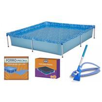 Kit Piscina de Armacao Infantil 1500l + Aspirador Venturi + Capa + Forro  Mor -