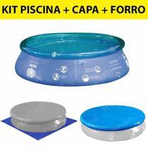 Kit Piscina Inflavel 2400 Litros + Capa e Forro em Rafia  Mor -