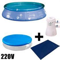 Kit Piscina Inflavel 6700 L + Capa em Rafia + Forro + Filtro 220v Mor -