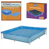 Kit Piscina Quadrada 1500 Litros + Capa e Forro Mor -