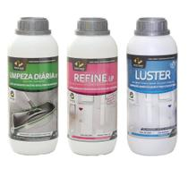Kit Pisoclean TIRA MANCHAS E BRILHO Refine Lp + Luster Brilho + Limpeza Diara Lp -