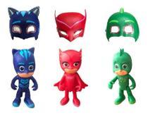 Kit Pj Masks Com 6 Pçs Bonecos 15cm E Máscaras C/ Led/luz - Sp