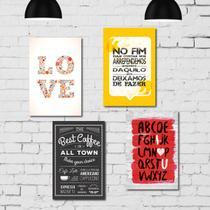 Kit Placa Decorativa MDF Frases 4 unidades - Quartinhos