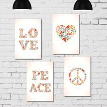 Kit Placa Decorativa MDF Paz e Amor 4 unidades - Quartinhos