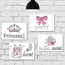 Kit Placa Decorativa MDF Princesa 4 unidades - Quartinhos