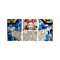 Kit Placa Decorativa Mosaico 3 Pçs Cristo Braços Abertos - Império Dos Quadros