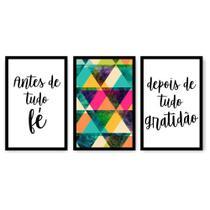 Kit Placa Decorativa Mosaico 3 Pçs Fé Gratidão - Império Dos Quadros