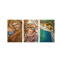 Kit Placa Decorativa Mosaico 3 Pçs José Maria Jesus - Império Dos Quadros