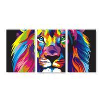 Kit Placa Decorativa Mosaico 3 Pçs Leão Color Print - Império Dos Quadros