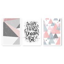 Kit Placa Decorativa Mosaico 3 Pçs Work Dream - Império Dos Quadros
