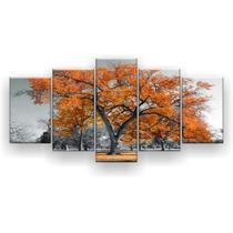 Kit Placa Decorativa Mosaico 5 Pçs Árvore Grande Laranja - Império Dos Quadros