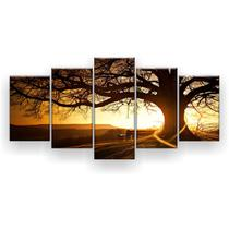 Kit Placa Decorativa Mosaico 5 Pçs Árvore Grande Nascer do Sol - Império Dos Quadros