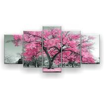 Kit Placa Decorativa Mosaico 5 Pçs Árvore Grande Rosa Claro - Império Dos Quadros